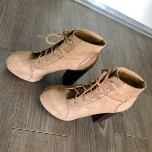 H&M platform booties high heel taupe ankle boots
